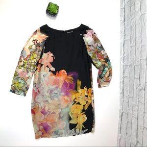 Aryn K Black Floral Shift Dress Sz Medium
